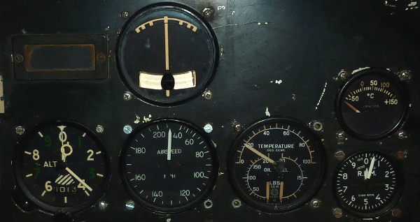 Ryan military trainer aircraft instrument panel