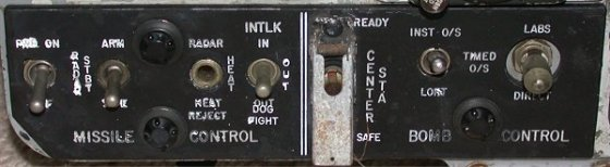 Bomb and missile control panel