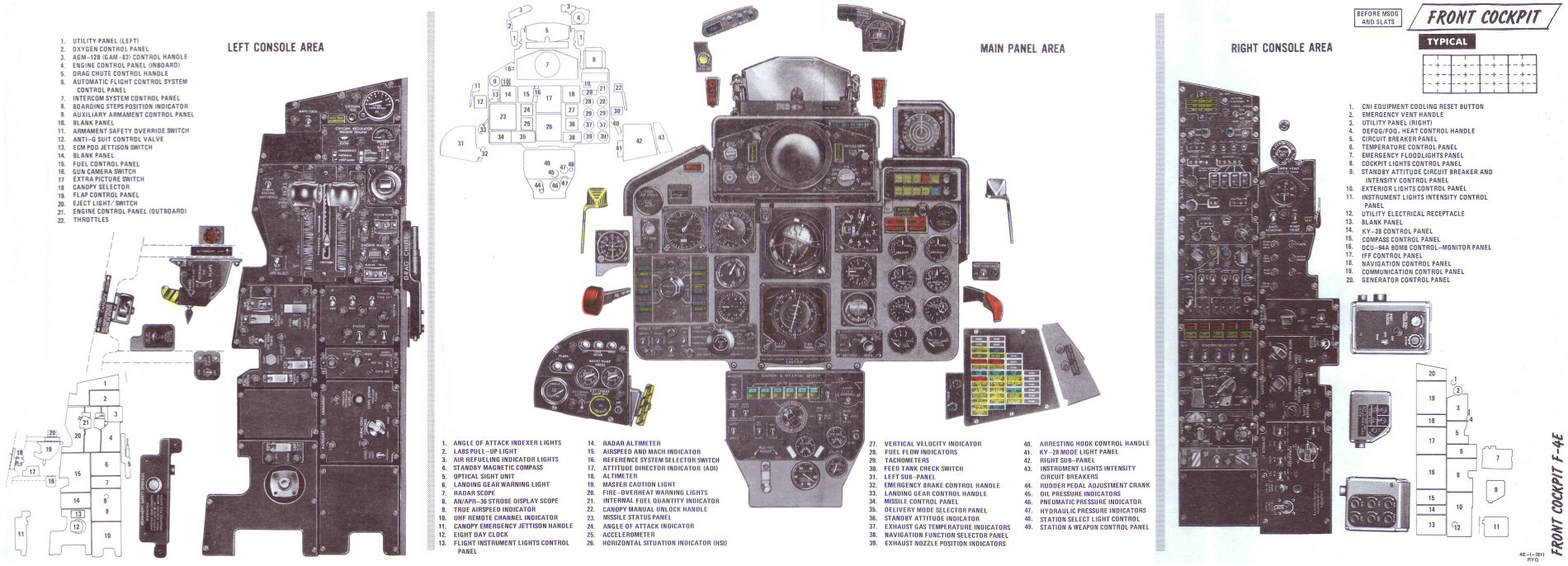 Mcdonnell F 4c Rf 4d And 4e Phantom Ii Usaf Aircraft Selector Switch Wiring Diagram Pedal Front Cockpit Instrument Panel Before Msog Slats