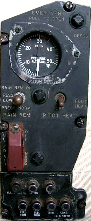 Right utility panel, cabin pressure indicator, etc.