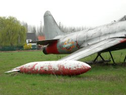 Tail section of the FT-25 T-33 airplane, Affligem, April 2006